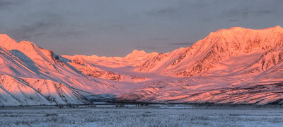 January 8, 2011, 3:12 PM:  The setting sun adds both beautiful color and detail to the mountains surrounding Gulkana Glacier.