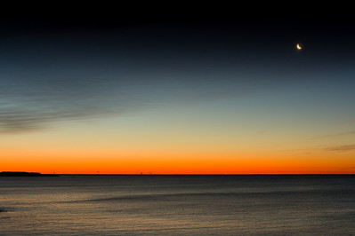 Predawn sky and moon