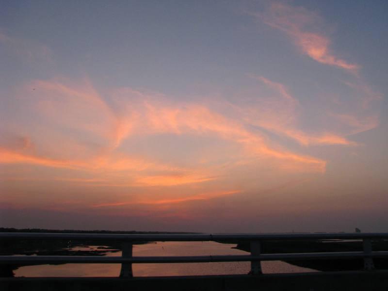 heading over the new Sunset beach Bridge before sunrise