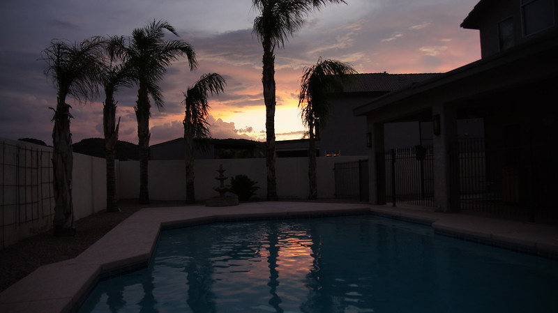 Sunset over our pool...