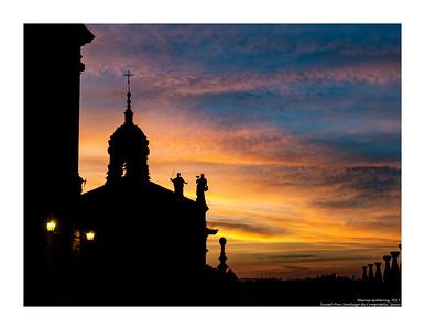 Sunset over Santiago de Compostela, Spain