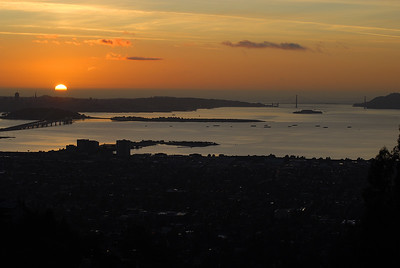 © Joseph Dougherty, All rights reserved.    Sunset over Berkeley, San Francisco Bay and the Golden Gate Bridge.