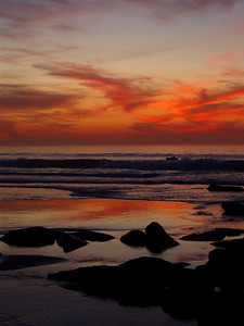 © Joseph Dougherty.  All rights reserved.   La Jolla shoreline at dusk, after sunset, with calm waves and low tide.  San Diego County, California.