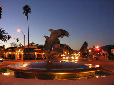 © Joseph Dougherty.  All rights reserved.   Santa Barbara's famous Friendship Fountain, looking up State Street from the foot of Stearn's Wharf.