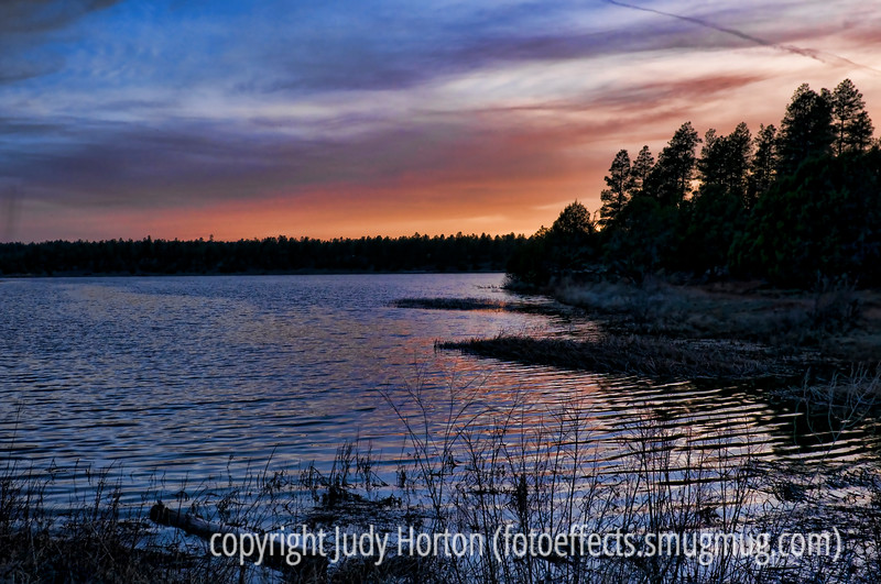 Fool's Hollow Lake at sunset; near Show Low, Arizona
