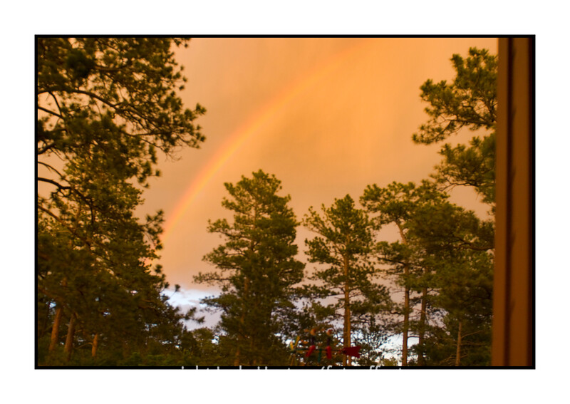 A storm was approaching and I rushed onto our porch, hoping to catch some lightning.  No luck there, but this rainbow arched across the sky.  and, the sky was yellow-orange --- at least the cloudy part.  You can see the blue sky beneath the clouds.