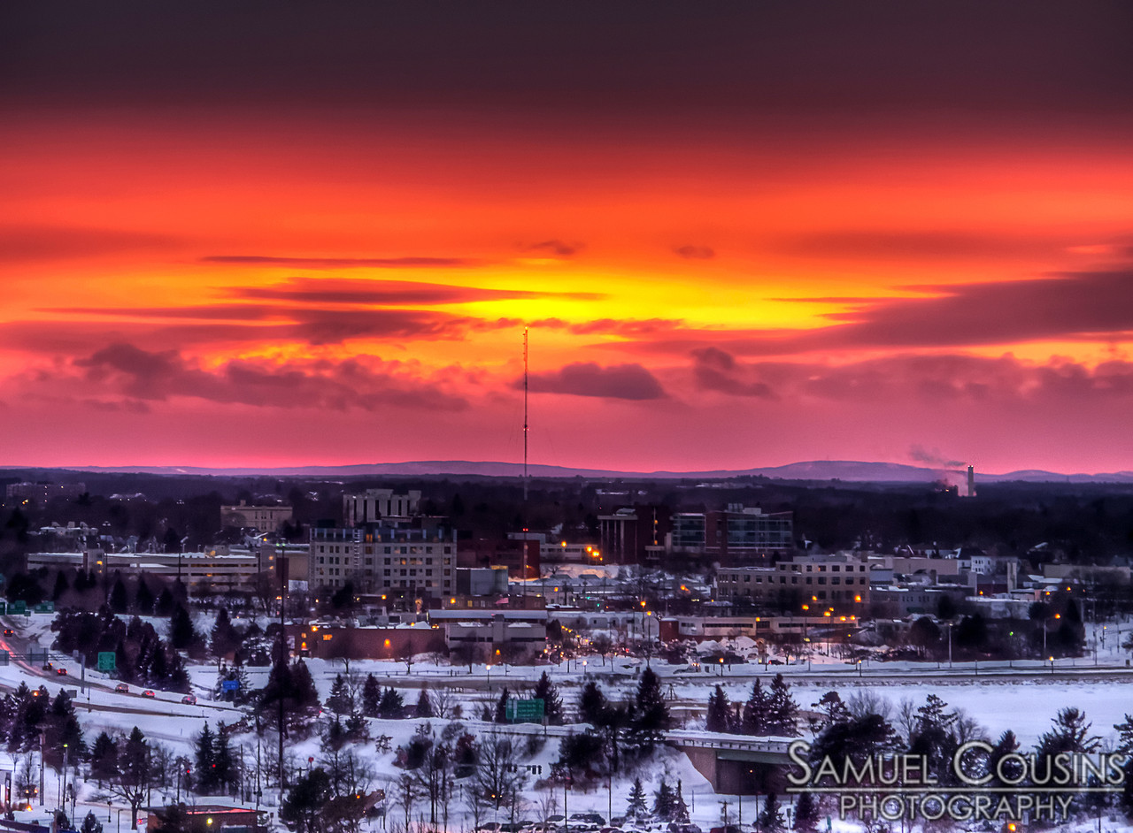 Sunset over USM. Taken from Standpipe Park.