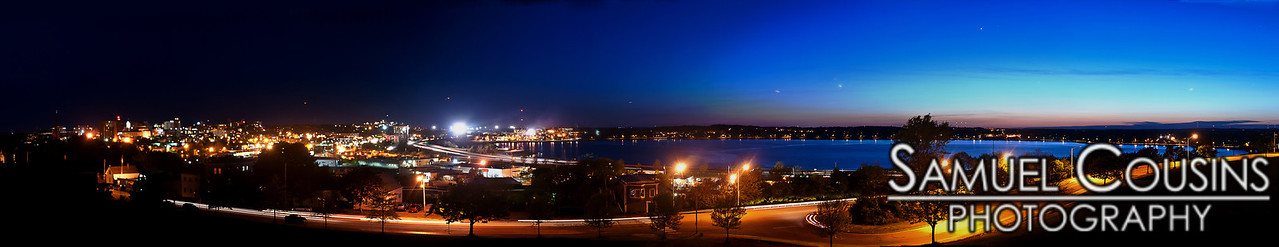 Shortly after sunset. Panorama of Portland and Back Cove.