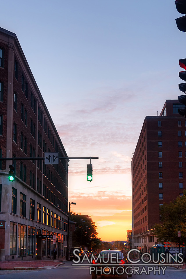 Looking down High Street from Congress Square, at sunset.