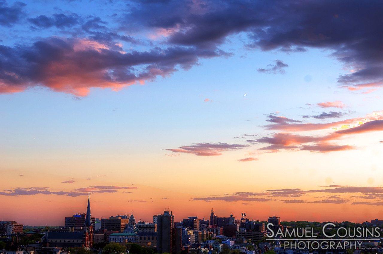 A sunset sky over downtown Portland