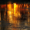 Gloden sunset reflections on a pond