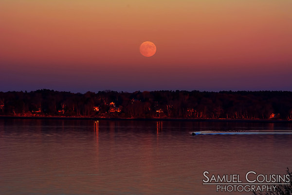 Full moon rising over Great Diamond Island