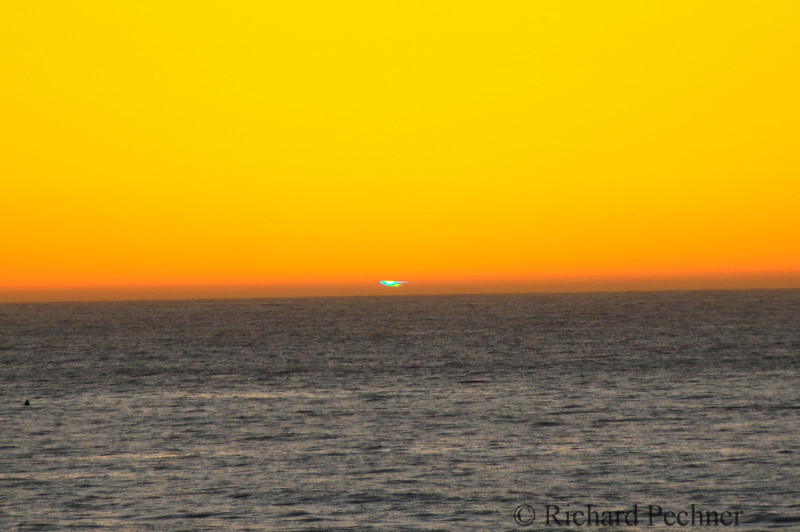 """The extremely rare """"green flash"""" as seen from Little River, CA on the Mendocinco Coast"""