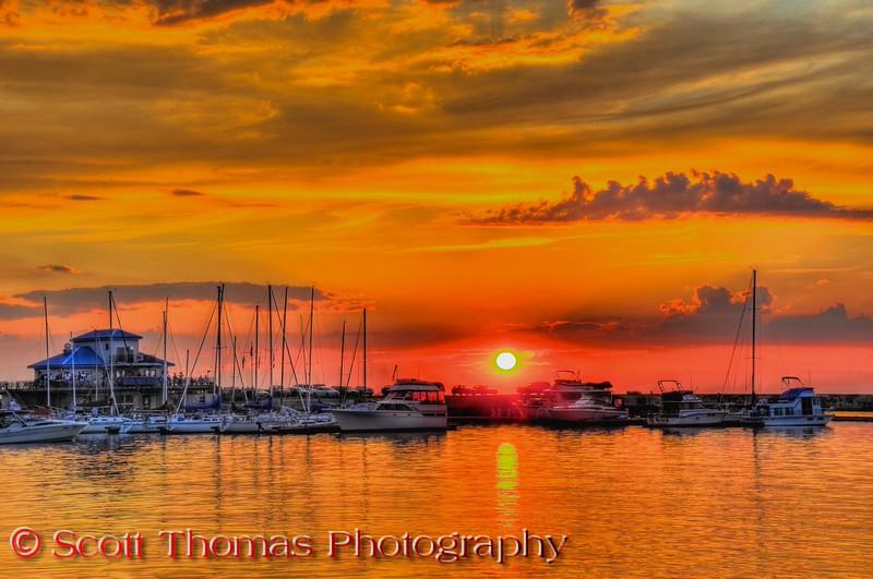 Oswego harbor sunset on Wednesday, August 17, 2011 on Lake Ontario.