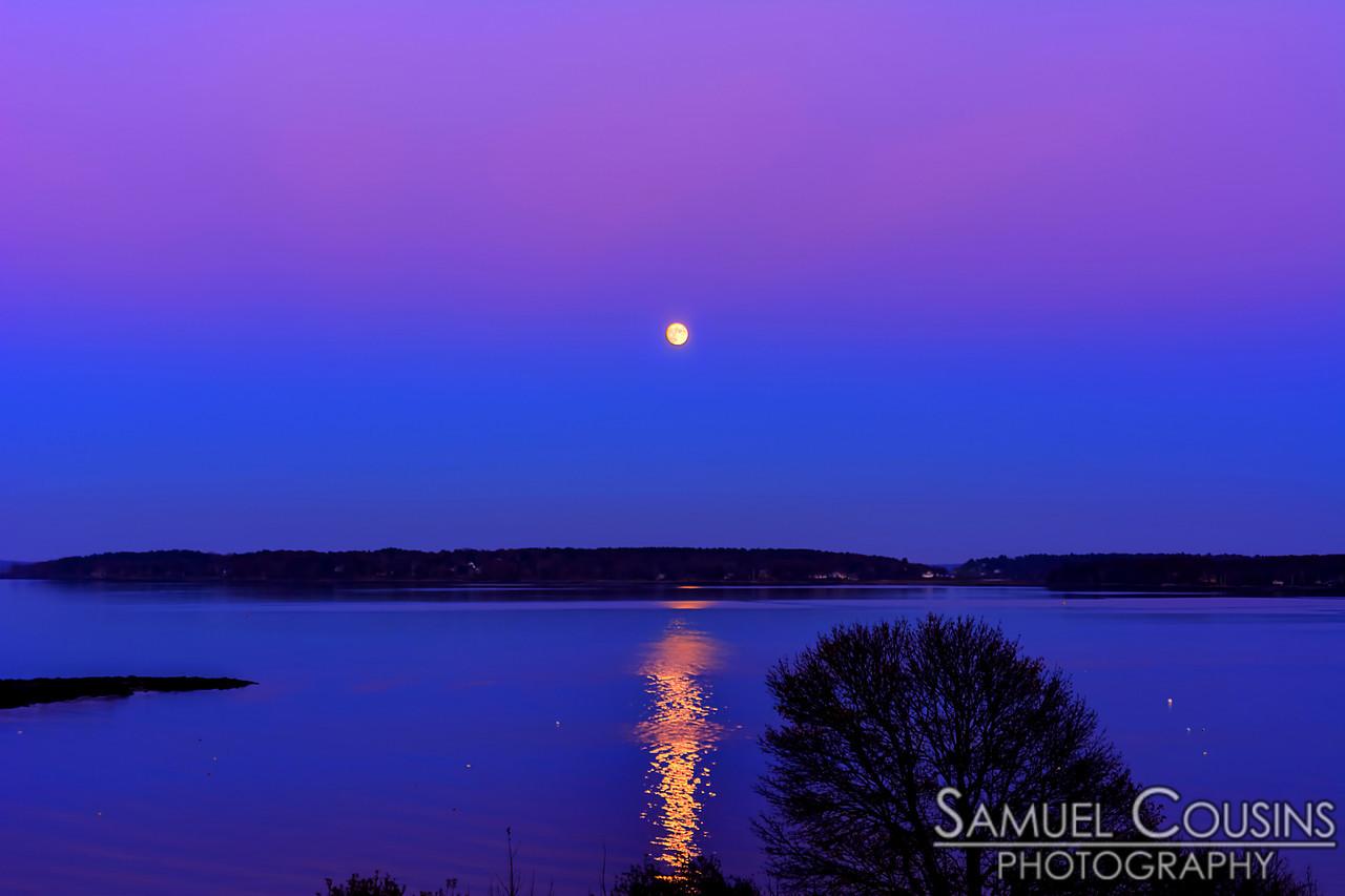 Full moon rising over Great Diamond Island