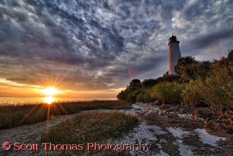 St. Marks Lighthouse at sunset in the St. Marks National Wildlife Refuge near St. Marks, Florida.