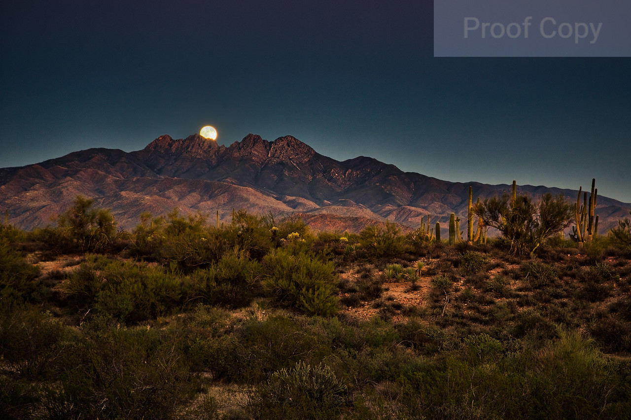 Moonrise At Sunset Over Four Peaks