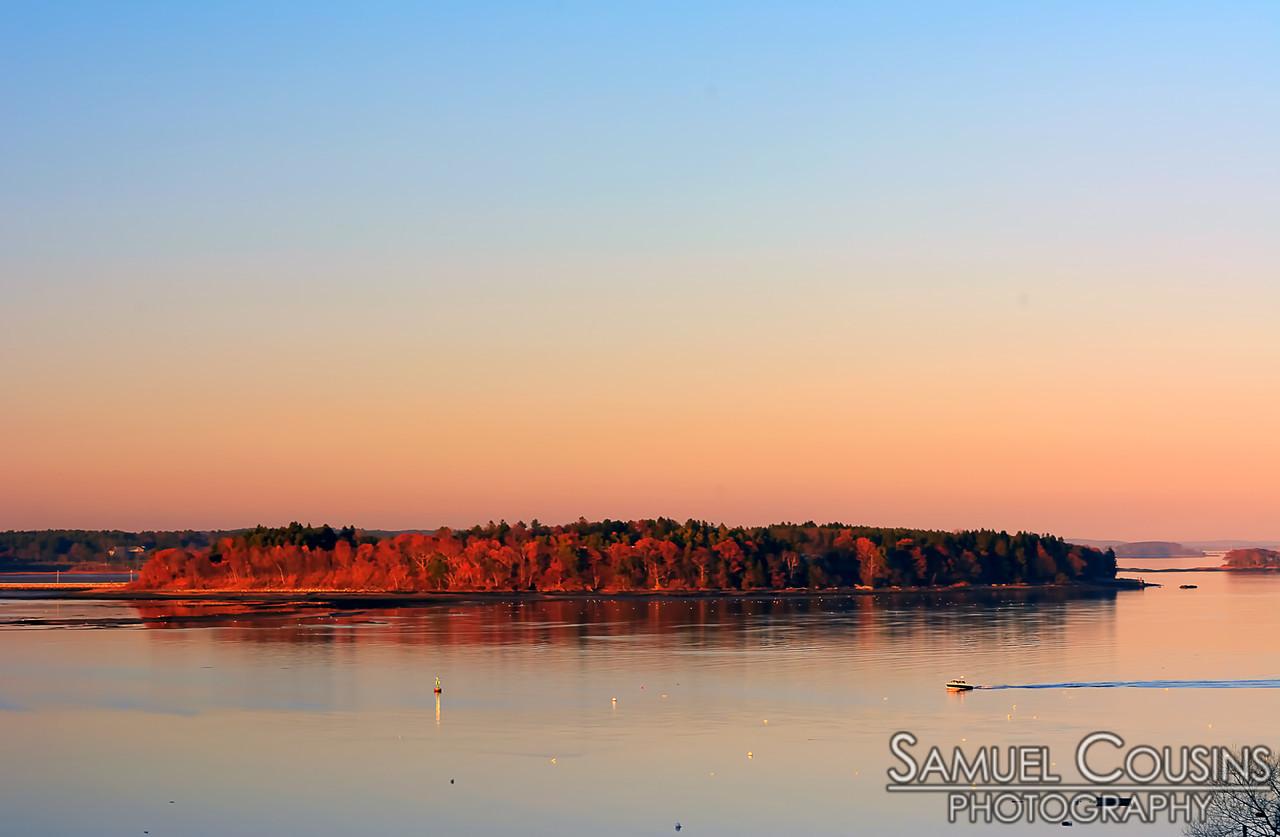 Mackworth Island, shortly before sunset.