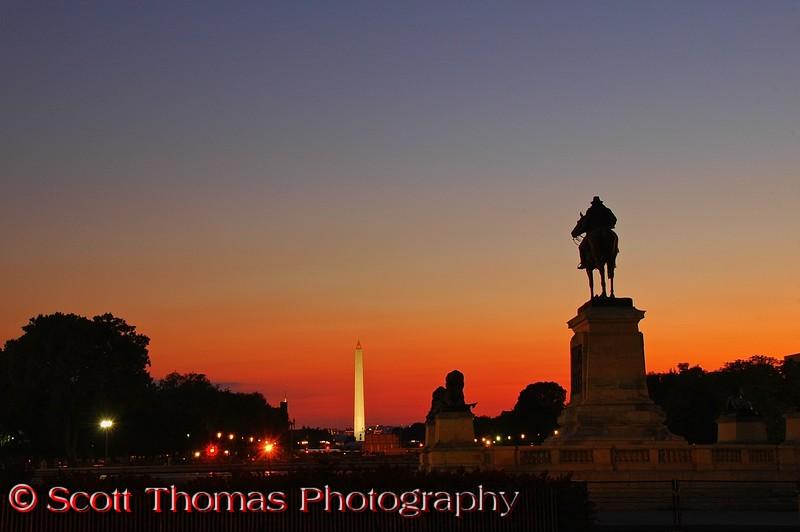 Sunset on the National Mall, Washington, DC.