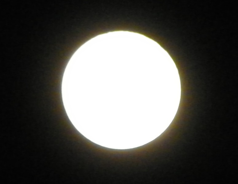 This moon was so bright that surface definition wasn't visible, so...