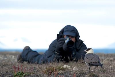 Ian photographing Arctic Skua.