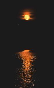 Full moon shining over Fontana Lake near Almond
