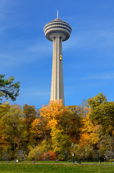 The Skylon Tower, in Niagara Falls, Ontario, is an observation tower that overlooks both the American Falls, New York and the larger Horseshoe Falls, Ontario from the Canadian side of the Niagara River.