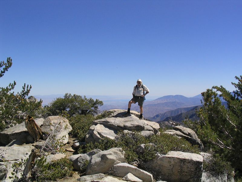 Jim on the summit. Salton Sea behind to the South.