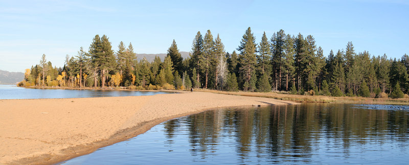 Panorama taken where Taylor Creek empties into Lake Tahoe.