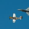 P-51 Mustang and F-16 Fighting Falcon At Idaho Falls Air Show