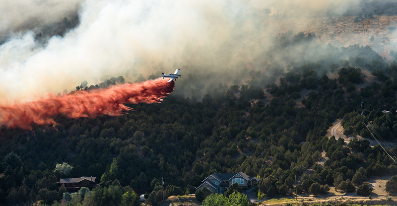 SINGLE ENGINE AIR TANKER (S.E.A.T.) RETARDANT DROP, CHARLOTTE FIRE, SE IDAHO