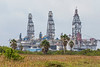 Idle offshore drilling rigs at Port Aransas