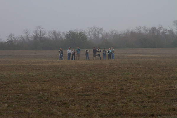A group of birders on Smith's Longspurs.  Why do they always stand around with their hands in their pockets?