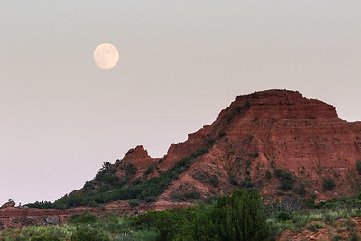 Moon rising over trailhead for Eagle Point Trail - view from site 59 in Little Red Tent Camping Area.