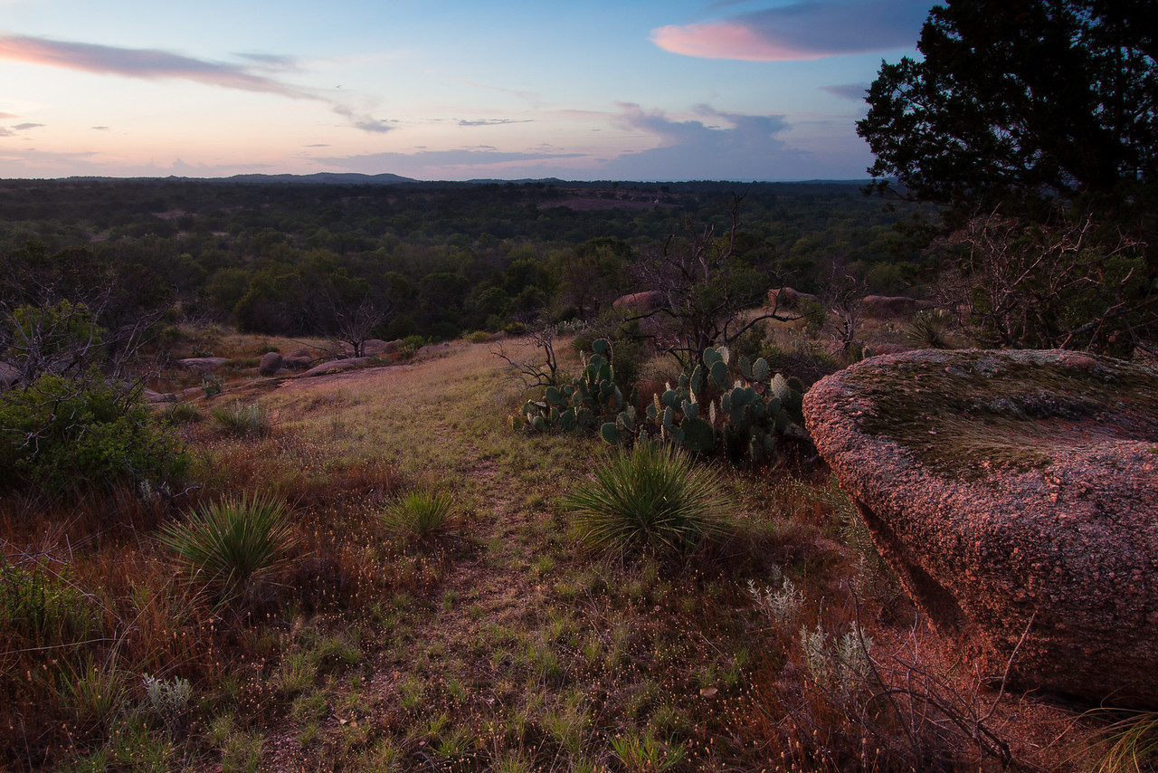 Beyond the marked Scenic View on the Outer Loop Trail at Enchanted Rock.