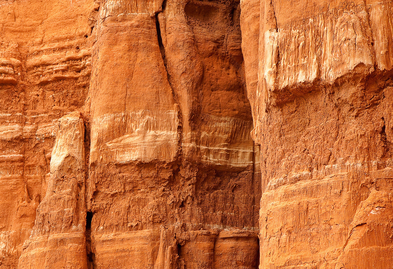 A close up view of a steep wall in Palo Duro Canyon.