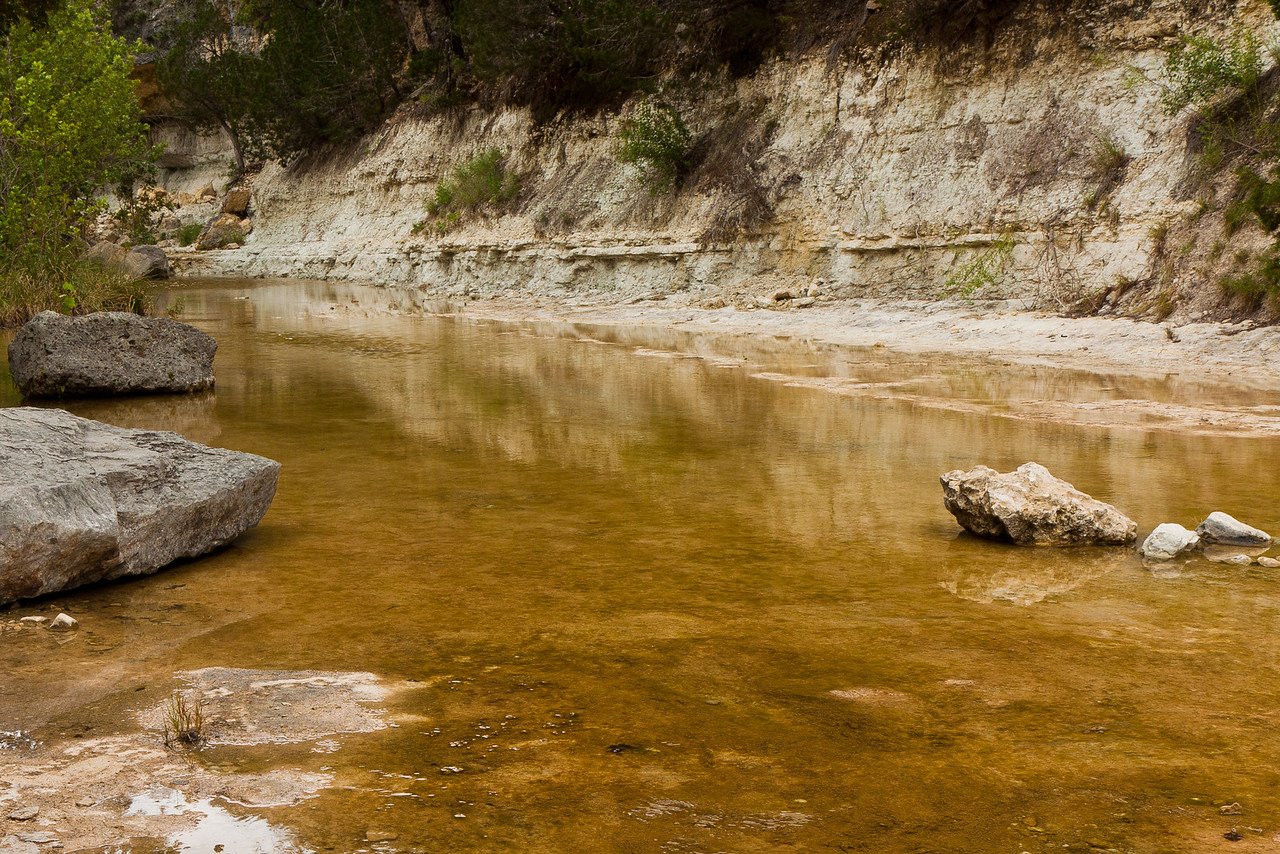 Low flow on the Sabinal River on the East Trail at Lost Maples  State Natural Area.