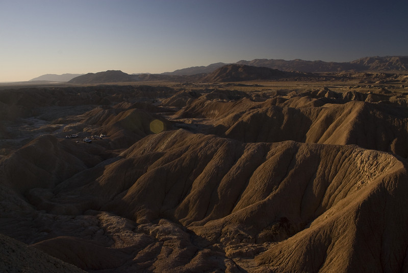This is a picture of the Borrego Badlands in Anza-Borrego State park.  Our campsite is in the picture.  In distance is Borrego Mountain.