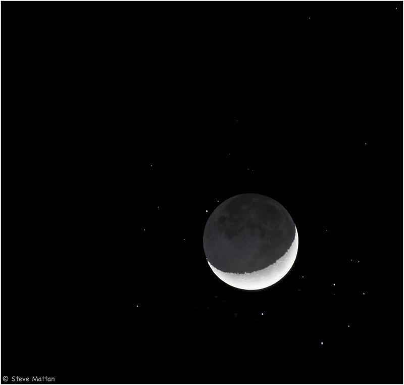 The Moon amongst the Pleiades