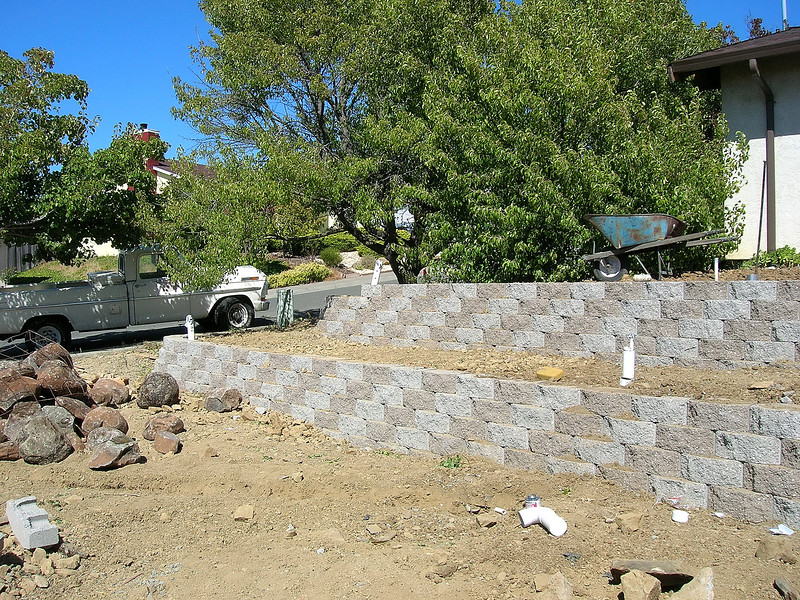 Day 2:  The retaining walls are finished.
