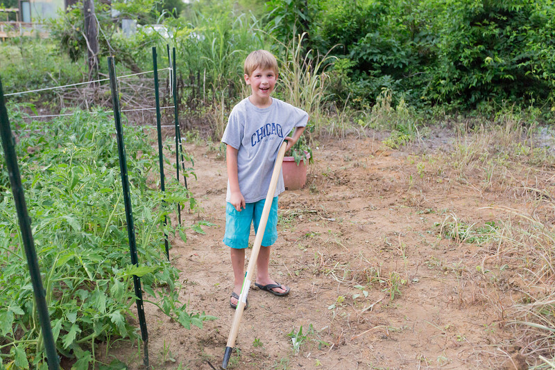 Caleb found a tool and went to work weeding .