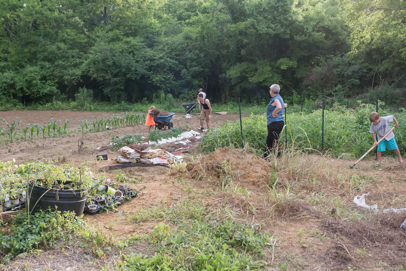 Caleb ,Julia, Frank, Mitchel,Cathy and Myself started an evening of working in the garden.