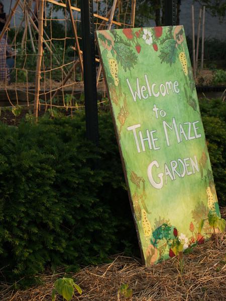 Maze Garden sign, from 3rd St.