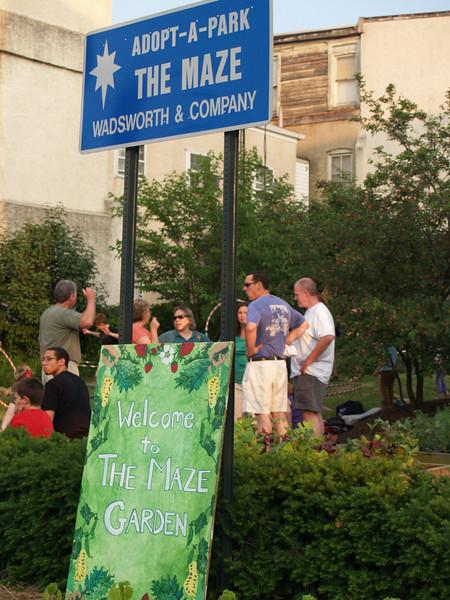 Community enjoying Maze Garden-- from 3rd St.
