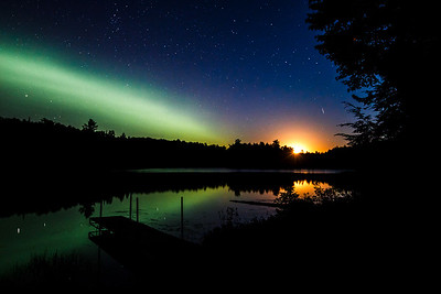 Harvest Moon and the Northern Lights