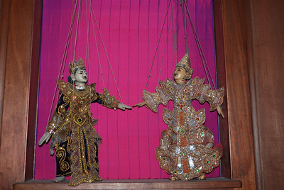 King and Queen of Siam, antique  Thai puppets.