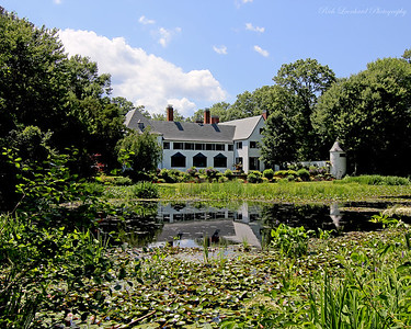 Pond and mansion at Chelsea Center. This was the Summer estate of Benjamin Moore the paint tycoon.