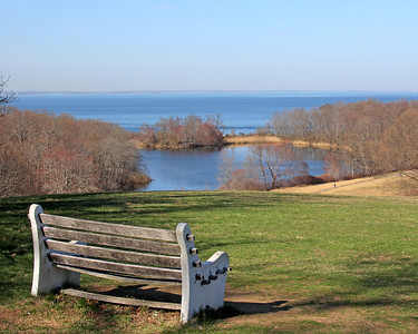 Caumsett State Park view of fresh water pond with bench