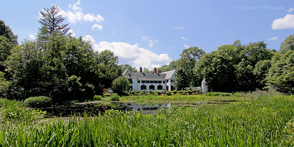 Pond and mansion at Chelsea Center. Formerly the Summer Estate of Benjamin Moore, the paint tycoon.