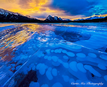 Sunrise on the ice bubbles.